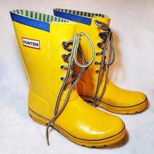 Hunter Yellow Lace Up Festival Wellies Rain Boots